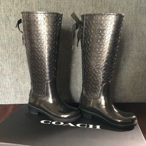Coach size 5B black rain boots with tie back